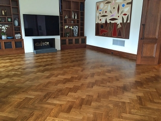 Double Herringbone size 400x80x19 European Oak, hand stained on site